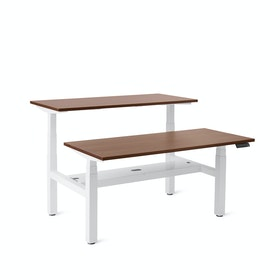 Series L Adjustable Height Double Desk for 2, White Legs