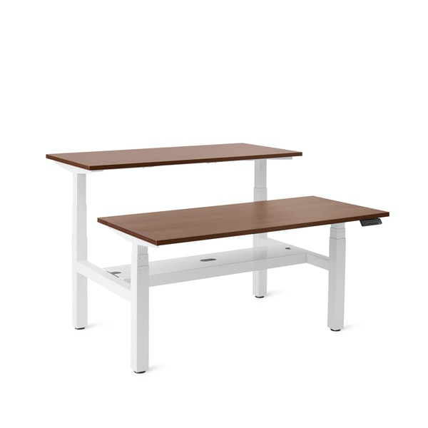 """Series L Adjustable Height Double Desk for 2, Walnut, 57"""", White Legs,Walnut,hi-res"""