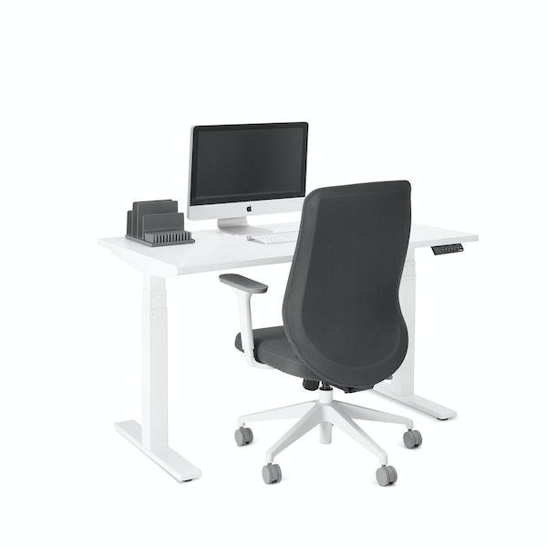 "Series L Adjustable Height Single Desk, White, 47"", White Legs,White,hi-res"