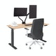 "Series L Adjustable Height Single Desk, Natural Oak, 57"", Charcoal Legs,Natural Oak,hi-res"