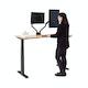 "Series L Adjustable Height Single Desk, Natural Oak, 57"", Charcoal Legs,Natural Oak,hi-res"