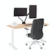 "Series L Adjustable Height Single Desk, Natural Oak, 57"", White Legs,Natural Oak,hi-res"