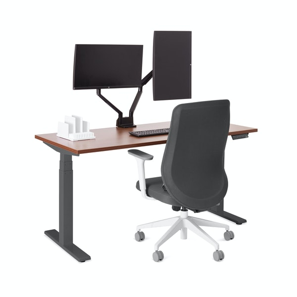 "Series L Adjustable Height Single Desk, Walnut, 57"", Charcoal Legs,Walnut,hi-res"