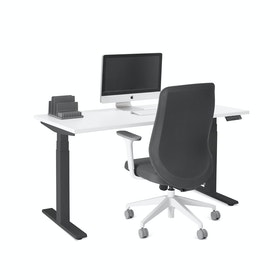 "Series L Adjustable Height Single Desk, White, 57"", Charcoal Legs,White,hi-res"