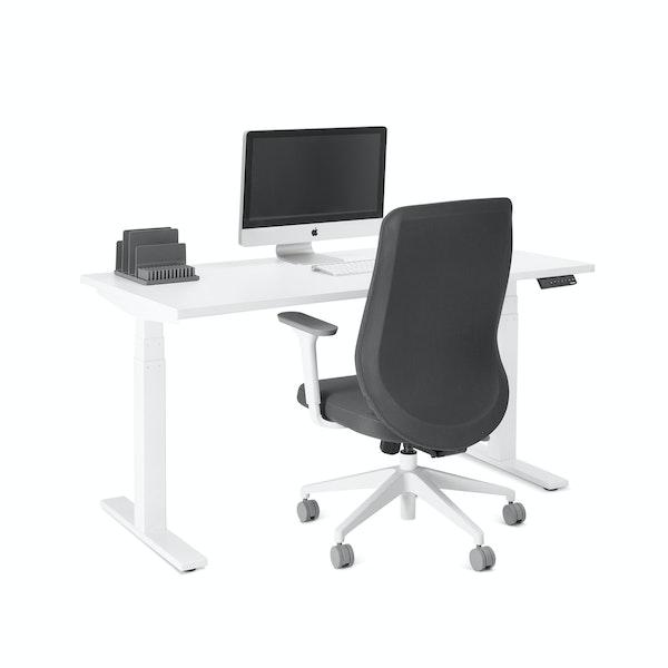 "Series L Adjustable Height Single Desk, White, 57"", White Legs,White,hi-res"