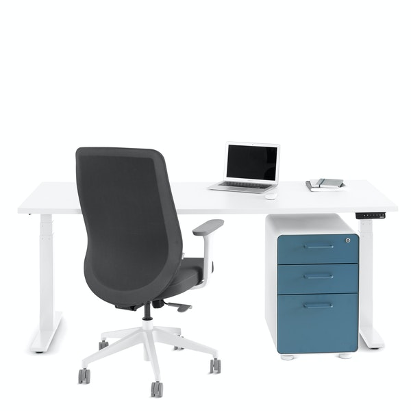 "Series L Adjustable Height Single Desk, White, 72"", White Legs,White,hi-res"