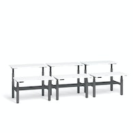 """Series L Adjustable Height Double Desk for 6, White, 57"""", Charcoal Legs,White,hi-res"""