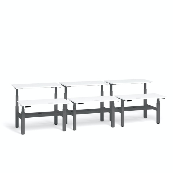 "Series L Adjustable Height Double Desk for 6, White, 57"", Charcoal Legs,White,hi-res"
