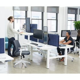 "Series L Adjustable Height Double Desk for 2, White, 57"", Charcoal Legs"