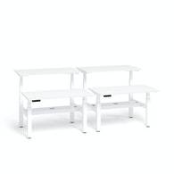 "Series L Adjustable Height Double Desk for 4, White, 47"", White Legs,White,hi-res"