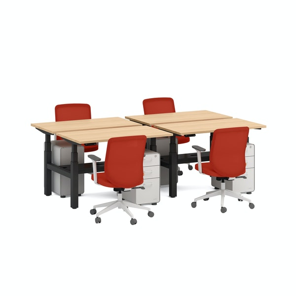 "Series L Adjustable Height Double Desk for 4, Natural Oak, 47"", Charcoal Legs,Natural Oak,hi-res"