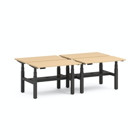 "Series L Adjustable Height Double Desk for 4, Natural Oak, 47"", Charcoal Legs"