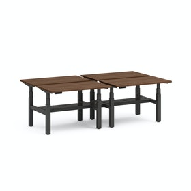 "Series L Adjustable Height Double Desk for 4, Walnut, 47"", Charcoal Legs"
