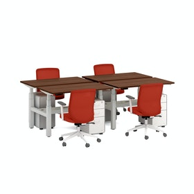 Series L Adjustable Height Double Desk for 4, White Legs