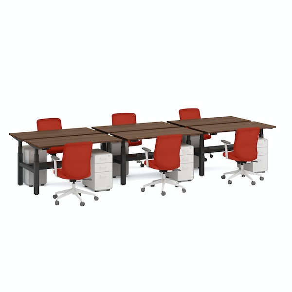 """Series L Adjustable Height Double Desk for 6, Walnut, 47"""", Charcoal Legs,Walnut,hi-res"""