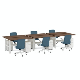 Series L Adjustable Height Double Desk for 6, White Legs