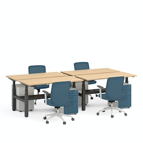 "Series L Adjustable Height Double Desk for 4, Natural Oak, 57"", Charcoal Legs"