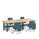 "Series L Adjustable Height Double Desk for 4, Natural Oak, 57"", Charcoal Legs,Natural Oak,hi-res"