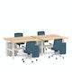 "Series L Adjustable Height Double Desk for 4, Natural Oak, 57"", White Legs,Natural Oak,hi-res"