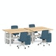 "Series L Adjustable Height Double Desk for 4, Natural Oak, 57"", White Legs,Natural Oak,hi-res"