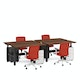 """Series L Adjustable Height Double Desk for 4, Walnut, 57"""", Charcoal Legs,Walnut,hi-res"""