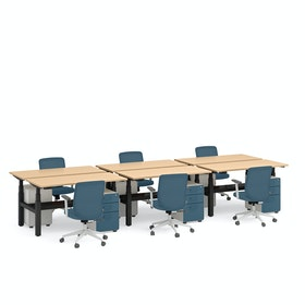 "Series L Adjustable Height Double Desk for 6, Natural Oak, 57"", Charcoal Legs"