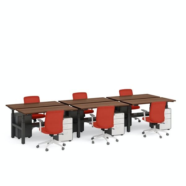 """Series L Adjustable Height Double Desk for 6, Walnut, 57"""", Charcoal Legs,Walnut,hi-res"""