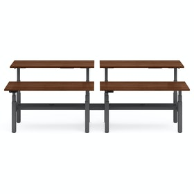 "Series L Adjustable Height Double Desk for 4, Walnut, 60"", Charcoal Legs"