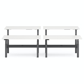 "Series L Adjustable Height Double Desk for 4, White, 60"", Charcoal Legs"