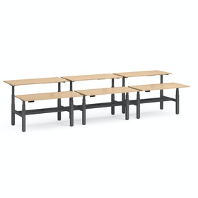 "Series L Adjustable Height Double Desk for 6, Natural Oak, 60"", Charcoal Legs"
