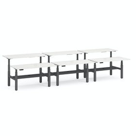 "Series L Adjustable Height Double Desk for 6, White, 60"", Charcoal Legs"