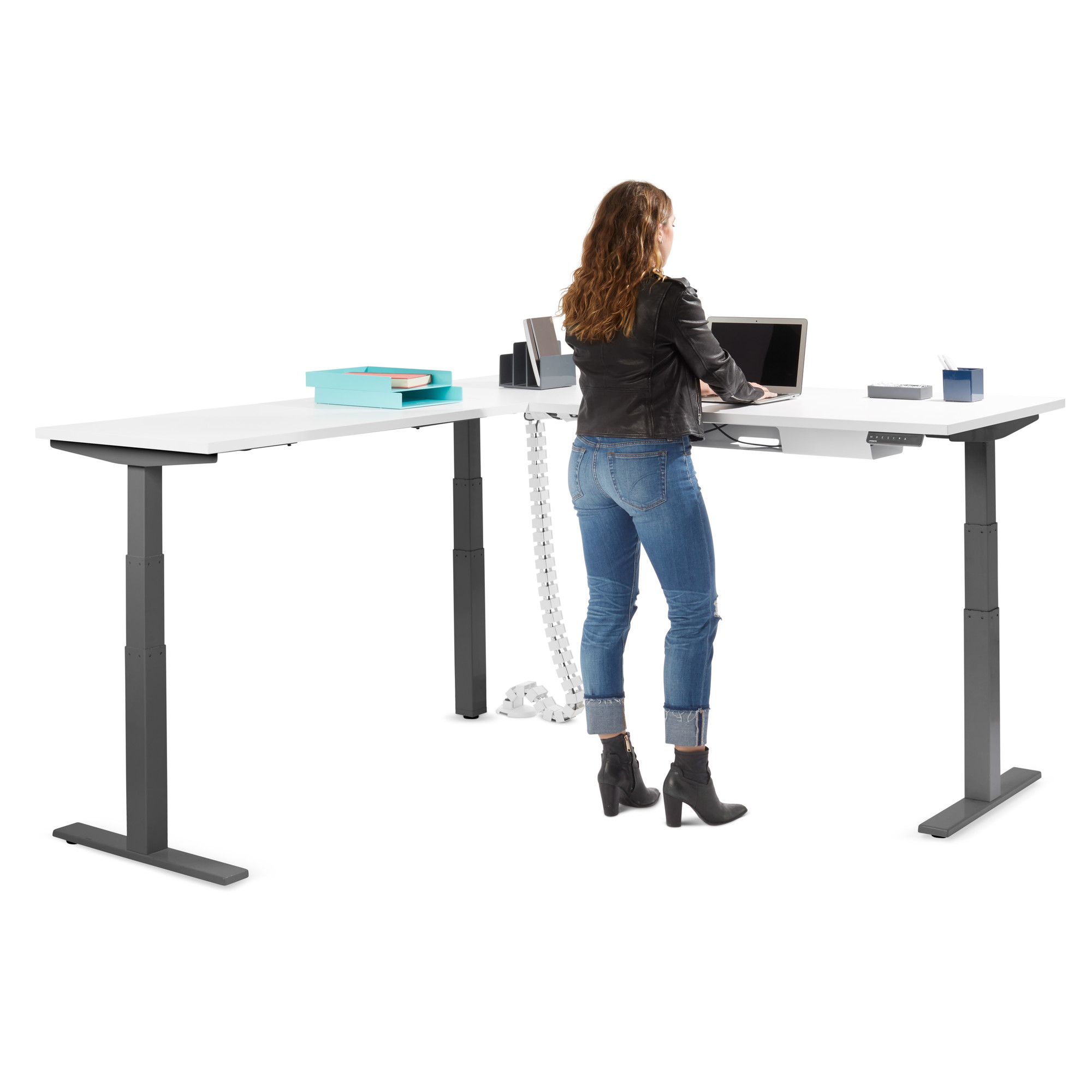 Amazing White Series L Corner Desk With Charcoal Base Left Handed Adjustable Height Desks Poppin Download Free Architecture Designs Grimeyleaguecom