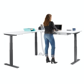 Series L Adjustable Height Corner Desk, White with Charcoal Base, Left Handed,White,hi-res