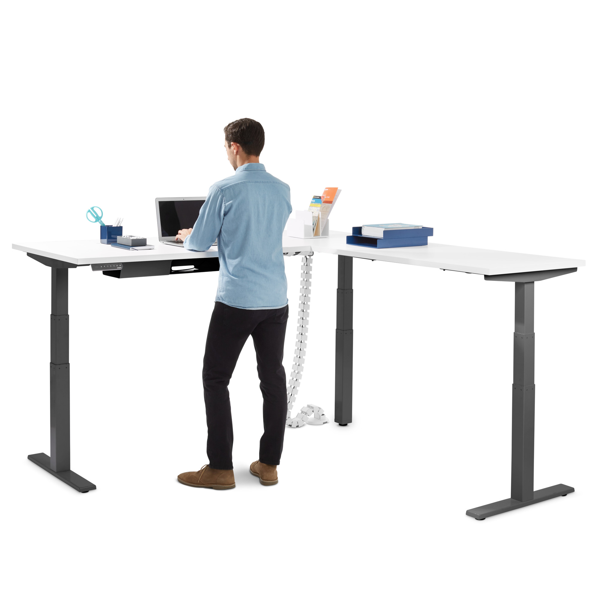 white series l corner desk with charcoal base right handed rh poppin com standing height desk dimensions standing height desk stool