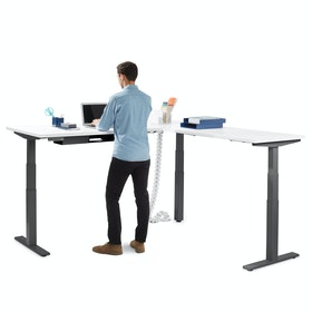 Series L Adjustable Height Corner Desk, White with Charcoal Base, Right Handed,White,hi-res