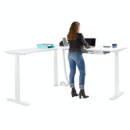 Series L  Adjustable Height Corner Desk with White Legs, Left Handed,,hi-res
