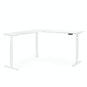 Series L Adjustable Height Corner Desk, White with White Base, Left Handed,White,hi-res