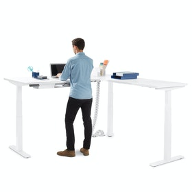 Series L  Adjustable Height Corner Desk with White Legs, Right Handed