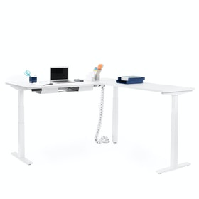 Series L Adjustable Height Corner Desk, White with White Base, Right Handed,White,hi-res