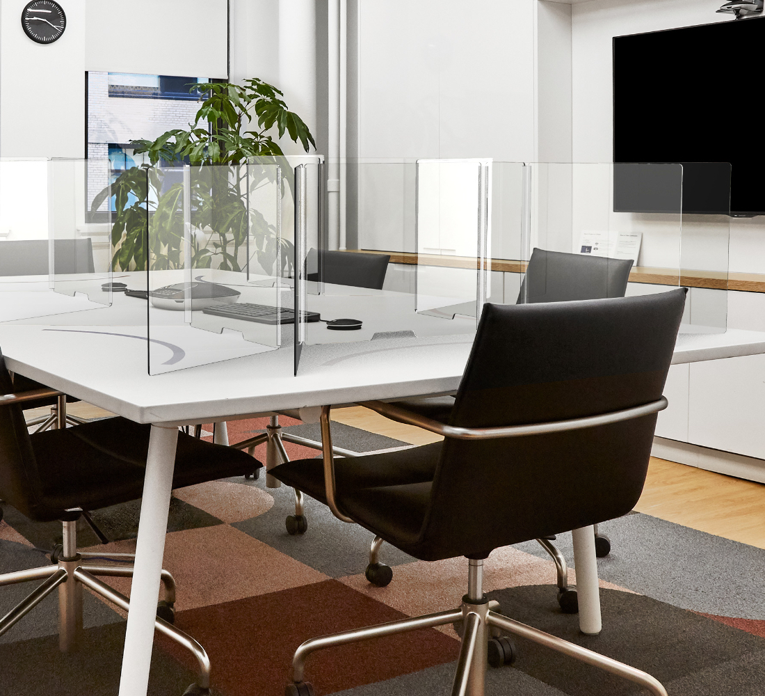 Conference room with Series A Conference Table, Meredith Meeting Chairs, and Protective Acrylic Shields