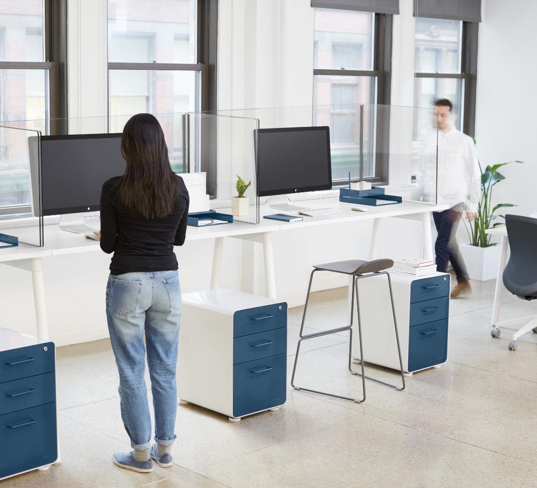 Series A Standing Table with workstation and protective acrylic shields