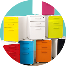 White + Red Stow 3-Drawer File Cabinet | Poppin